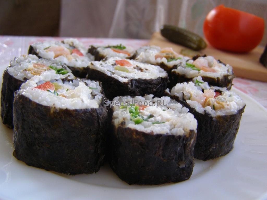 Роллы с морепродуктами и творожной массой