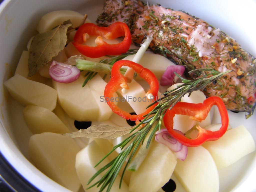 Стейк и овощи