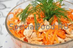 Салат с морковью по-корейски и куриным филе: