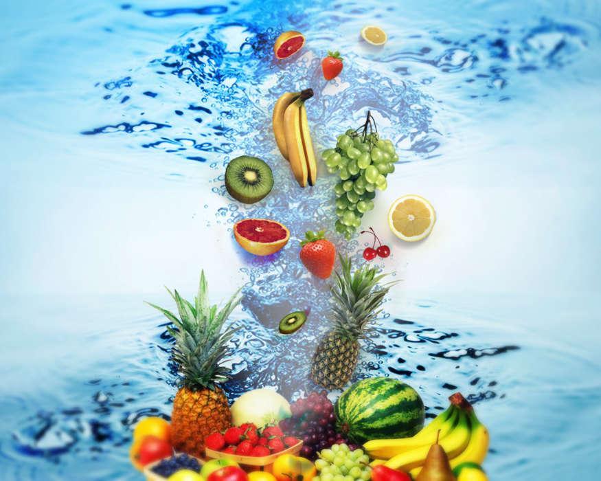 еда фрукты и вода